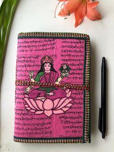 Junk Journal, Handmade Journal, Scrapbooking Journal, Writing Journal, Indian Laxmi Art Journal, 9x7 inches, Blank Journal, Handmade Paper