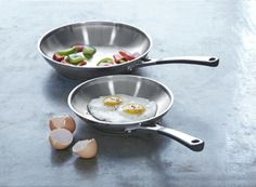 """simply calphalon 8"""" and 10"""" stainless steel omelette pan set"""