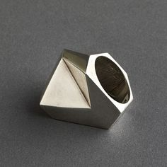 artnet Galleries: Takashi Wada sterling silver modernist angular small ring, signed by Takashi Wada from Sally Rosen 20th Century Collections