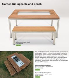 snow peak garden dining table and bench with bbq and burner inserts