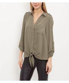 Khaki Single Pocket Tie Front Roll Sleeve Shirt  | New Look