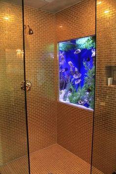 aquarium bathroom decor - Internal Home Design Home Aquarium, Aquarium Design, Aquarium Fish Tank, Fish Tank Wall, Wall Aquarium, Cichlid Aquarium, Fish Tank Design, Cool Fish Tanks, Amazing Aquariums