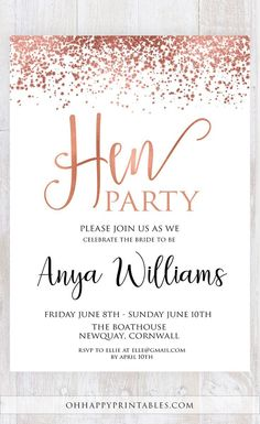 Editable Hen Party Invitation Set - Rose Gold Foil Hen Party DIY Invitation, Printable Hen Party Invite, Hen Do Invitation, Rose Gold Hen Party Invite Hens Party Invitations, Bridal Invitations, Invitation Set, Invite, Neon Party Decorations, School Christmas Party, Rose Gold Theme, Bachlorette Party, Gold Bridal Showers