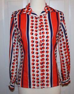 Vintage Judy Bond Sz 10 Blouse Bold Geometric Polka Dot Shirt Blue Orange White #JudyBond #Casual