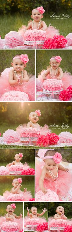 Child's first birthday cake smash photography session with pink ombre rose cake, pink tutu pink flower decorations. Created by Tampa Children's Photographer Sherri Kelly Photography.