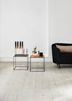 The Twin tables and the Kubus Collection in copper from Danish brand by lassen. I am a huge fan of by lassen's design because and I have always loved the Interior Styling, Interior Design, Contemporary Side Tables, Elegant Table, Danish Design, Online Furniture, Table Furniture, End Tables, Occasional Tables