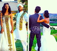 2 looks - 1 love! Love our habesha culture. How beautiful is this Ethiopian bride & groom? Ethiopian Wedding | Ethiopian Melse