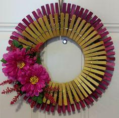 """Spring"" wreath Wreath Crafts, Owl Wreaths, Diy Wreath, Clothespin Crafts, Fabric Wreath, Crafts For Seniors, Diy Crafts For Kids, Crafts To Sell, Spring Projects"