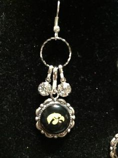 Very pretty Rhinestone Earrings with free Iowa Hawkeyes Pendants attached