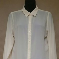 NWOT Ivory blouse with pleat detail on back Pleated detail on back. Ivory off white blouse. Long sleeves. Button down. Never worn. Olive & Oak Tops Blouses
