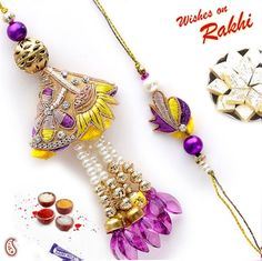 Picture of Yellow and Purple Silk Thread Bhaiya and Bhabhi Rakhi set Rakhi Making, Handmade Rakhi, Rakhi Design, Silk Thread, Bracelet Designs, Tassel Necklace, Tassels, Pearl Bracelets, Drop Earrings