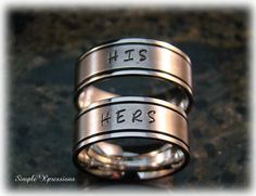 Matching Couples Rings  Brushed Metal with Shiny by SXpressions, Etsy