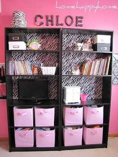 """bookcase upcycle - beautiful result used """"zebra print wrapping paper and double sided tape""""."""