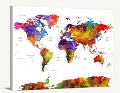 Push-Pin Reisen Welt Karte Leinwand Print von ExtraLargeWallArt