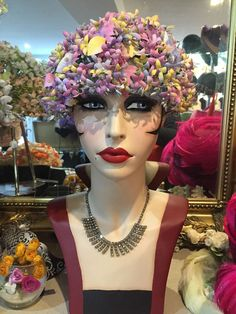 STUNNING TRUE VINTAGE 1960 s FLORAL HAT WITH CRYSTALS