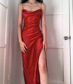 Red Silk Prom Dress, Red Slip Dress, Silk Gown, Satin Dresses, Green Dress, Event Dresses, Prom Dresses, Couture Dresses, Ball Gowns
