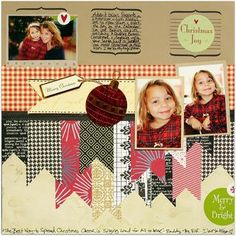 "Like the ""ribbon"" look Christmas scrapbook page"