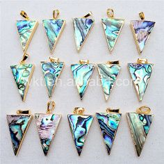 WT-P777 Amazing sparkly natural tiny abalone triangle pendant with top quality 24k real gold electroplated abalone pendant in 20*30mm by WKTjewelry on Etsy