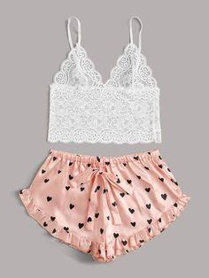 Floral Lace Bralette With Heart Shorts Cute Sleepwear, Sleepwear Women, Pajamas Women, Pretty Lingerie, Lingerie Set, Ropa Interior Babydoll, Cute Pajama Sets, Loungewear Outfits, Cute Lazy Outfits