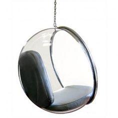 Cocoon away in this transparant bubble chair, voor elk plafond of met RVS standaard in de tuin.