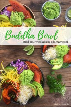 Buddha Bowl with salmon and edamame dip - delicious and filling low carb lunch. Recipe here: Low Carb Recipes, Real Food Recipes, Healthy Recipes, Power Salad, Food And Thought, Clean Eating Chicken, Low Carb Meal Plan, Food Bowl, Edamame