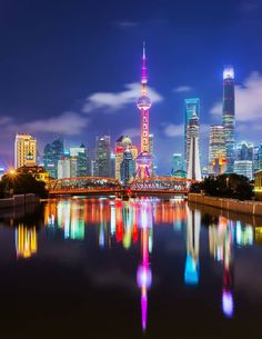Modern China Shanghai's Pudong District at Night China Travel, Bali Travel, Nocturne, Bon Plan Voyage, More Wallpaper, Beautiful Wallpaper, Signage Design, City Architecture, Night City
