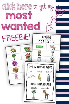"""This FREE living and non-living things packet is a simple but wonderful tool for sorting practice, creative expression, community learning, or a science center! Simply cut out the labels and pictures and allow students to sort the cards. The included poster is a convenient reference guide for students who are not as familiar with the concept of """"living"""" and """"nonliving."""""""