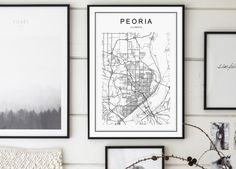 Peoria Map Peoria Illinois Map Peoria Map by GalaDigitalPrints