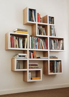 creative bookshelves and bookcases designs:interesting perfect unique bookshelves unique design of criss cross bookshelf with white wall Creative Bookshelves, Bookshelf Design, Bookshelf Ideas, Book Shelves, Bookshelf Decorating, Minimalist Bookshelves, Decorating Ideas, Book Shelf Diy, Mounted Shelves