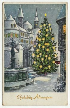 Postcards - Greetings & Congrads # 239 - Happy New Year Winter Scene Christmas Tree