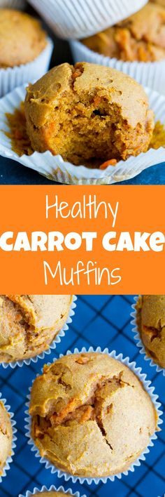 These Healthy Double Carrot Muffins are packed with carrot puree and grated carrots and they're also refined sugar free, dairy free and gluten free! They're perfect for a healthy make ahead breakfast or snack!