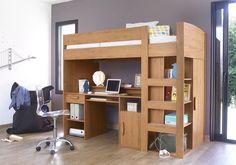 Light Brown Wood Framed Bed Color For Adult Loft Beds With Grey Wall Color Interior Design Queen Adult Loft Beds For Modern Bedroom ideas