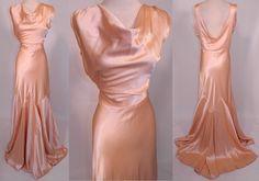 Vintage 1930s Peach Pastel Silk Satin Bias Cut Dress Evening Gown Train Skirt
