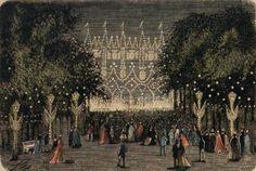 The Alameda Park, fiestas del Apostol (Grabado, 1873)
