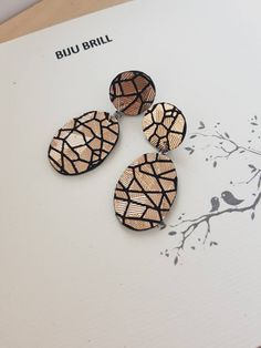 Golden Leather Earrings, Geometric Statement Jewelry, Up-cycled Italian Leather, Champagne Golden Modern Oval Earrings, Metallic Rose Gold