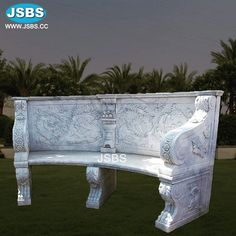 Marble Curved Bench Marble Curved Bench More Des Outdoor Art, Outdoor Decor, Curved Bench, Marble Columns, Stone Bench, Bench Designs, Marble Fireplaces, Doorway, Outdoor Furniture