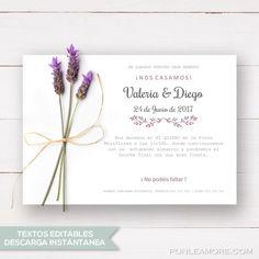 invitación de boda Rústica imprimible. Plantilla PDF para crear tus invitaciones de boda. Cambia los textos e imprímela fácilmente.