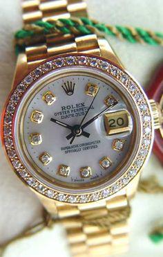 Rolex Ladies President Yellow Gold White MOP Diamond Dial / Bezel