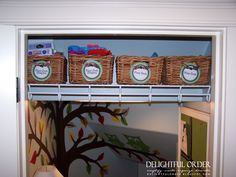 Delightful Order: Boxes, Bins, Baskets and More Storage (Use baskets on shelf above coats in coat closet).