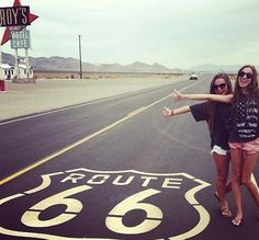 Drive down Route 66 through the desert town of Amboy, California. The famous Rt. 66 shield is painted on the old road outside Roy's Cafe. Brandy Melville Usa, Hermann Hesse, Bff Goals, Best Friend Goals, Best Friend Pictures, Friend Photos, Route 66, Road Trip Photography, Friend Photography