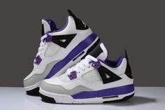 Popular Hot Women Jordan Shoes Retro IV Purple Black and Grey on sale for cheap [JD26W118] New Arrival For Sale