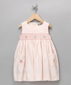 Take a look at this Peach Rosebud Smocked Linen-Blend Dress - Infant & Toddler by Petit Confection on #zulily today!