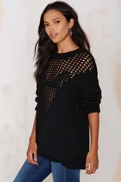 Fingers Crossed Knit Sweater - Black - Best Sellers | Back In Stock | Pullover