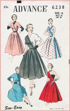 1950s 1960s vintage assymetric one shoulder cocktail gown day dress sewing…