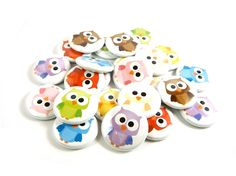 Owl Buttons - Rainbow Owl Pins - Set of 24 Pinback Buttons - Owl Party Favors. $9.75, via Etsy.