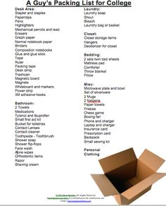 Does your summer include sending someone off to college?  Check out this packing list for guys!