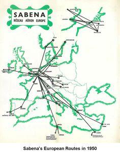 Sabena Belgium Airlines 1950 European Route Map