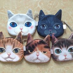 New-Funny-Ladies-Cute-Cat-Face-Animal-Change-Coin-Purse-Wallet-Mini-Zipper-Bag