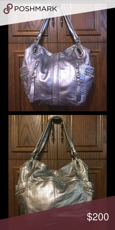B. Makowsky pewter leather hobo Like new, middle zippered compartment, zippered inside back pocket with 2 cell phone pockets, 2 zippered pockets on front, side magnetic close pockets, small back pocket, super cute bag! b. makowsky Bags Hobos
