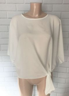 77e0f9e435789 Off White Oversized Batwing Sleeve Tie Feature Blouse Top Size M UK 12 14